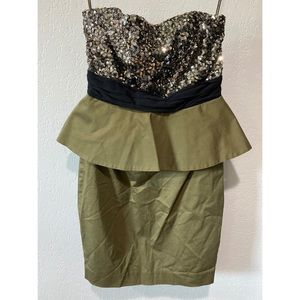 Alice + Olivia Olive Green and Sequin Dress